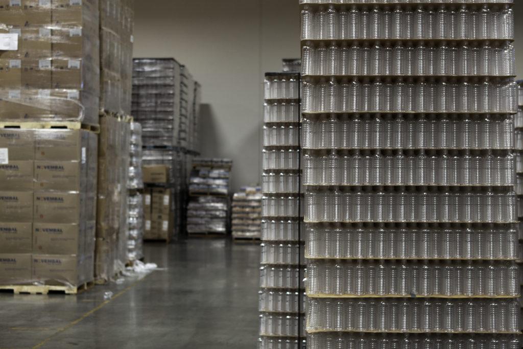 Packed bottled water kept in warehouse